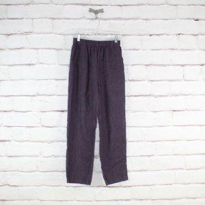 Stijfselkissie Purple 100% Linen Wide Leg Pants
